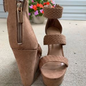 Tan braided wedges from Charlotte Russe